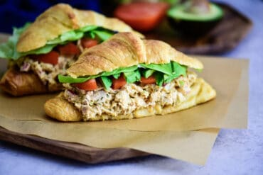 Classic Chicken Salad Sandwich made with shredded chicken and other fresh ingredients