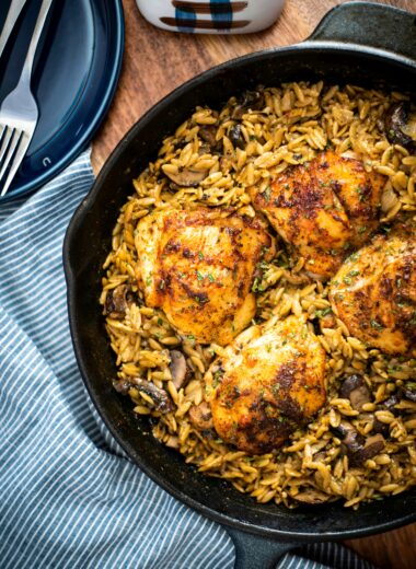 Chicken thighs with creamy mushroom orzo