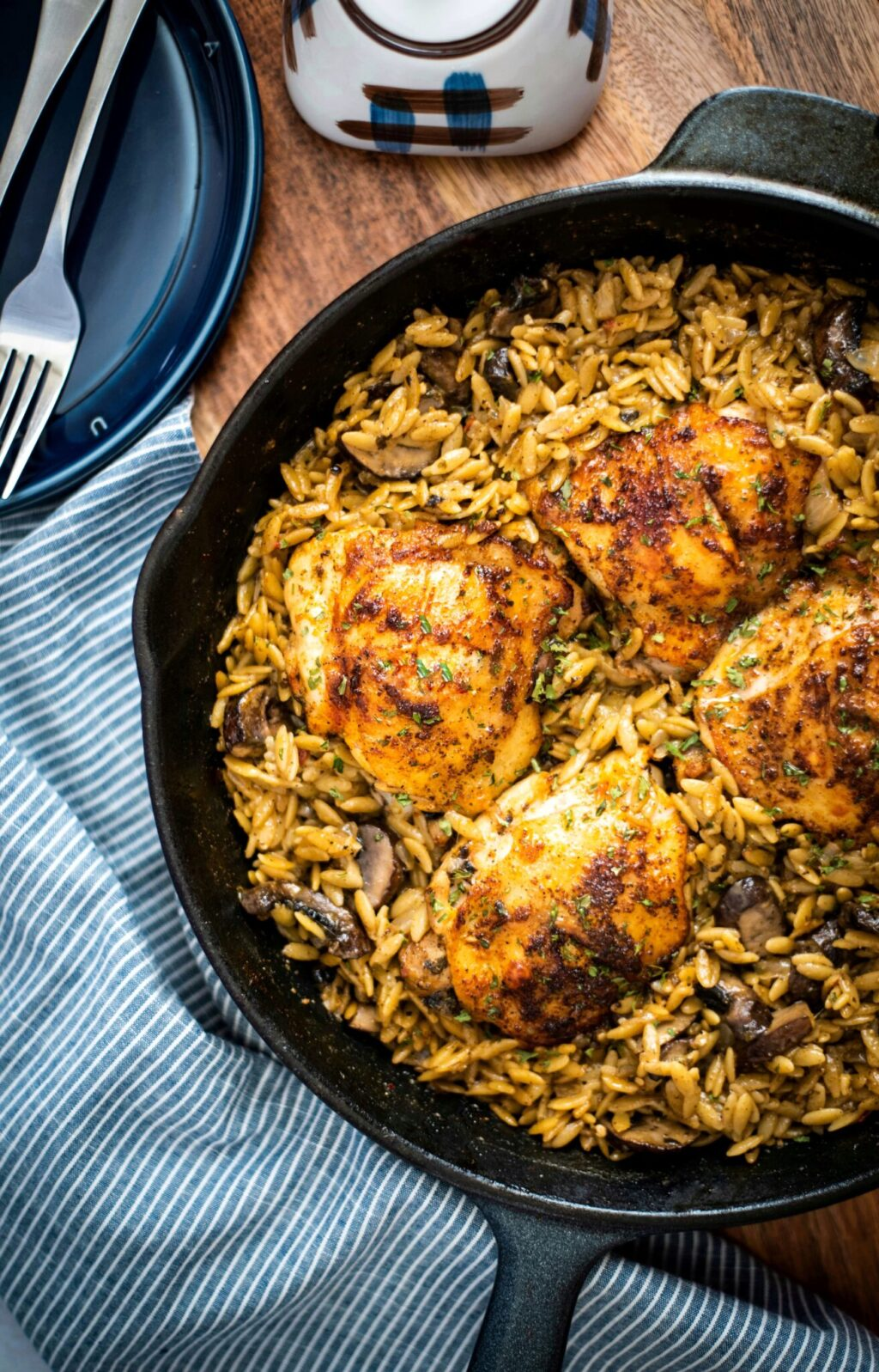 Chicken thighs with creamy mushroom risotto
