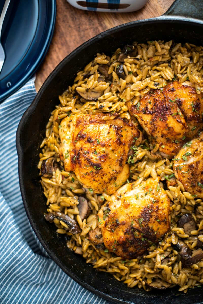 Detailed shot of chicken and orzo dish