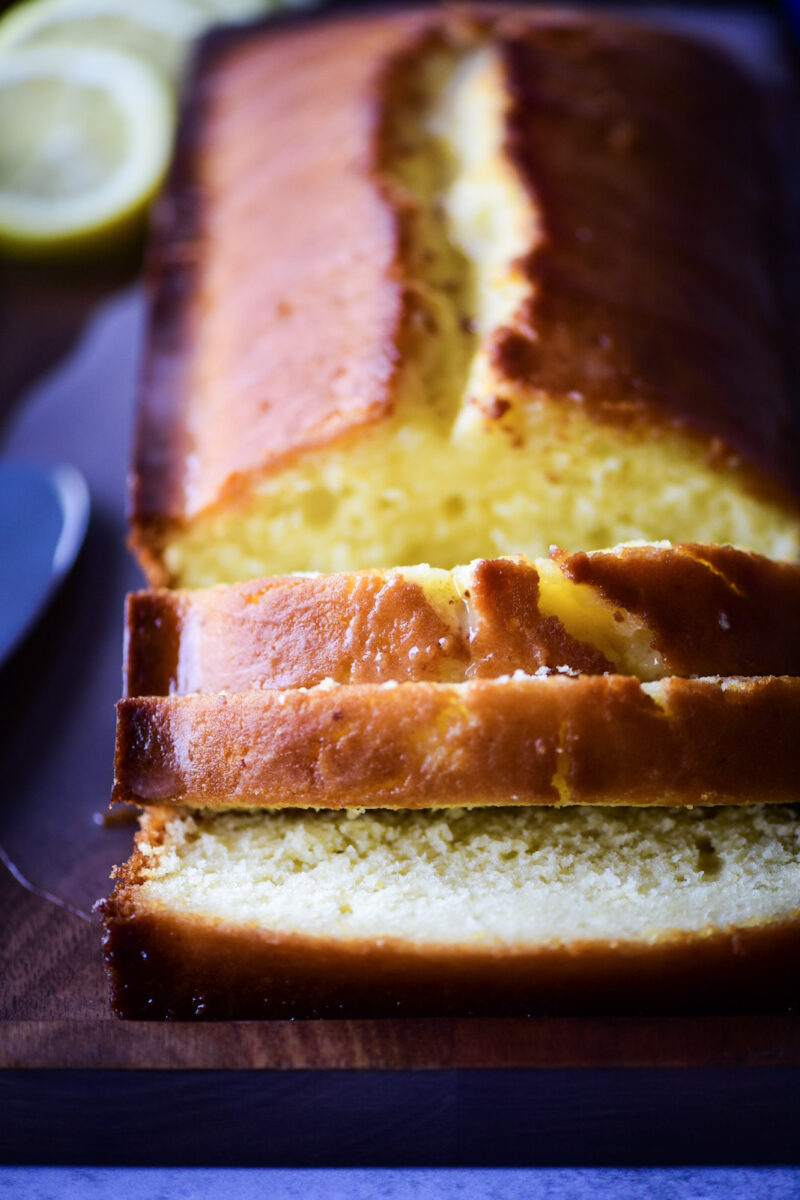 Close up of sliced pieces of pound cake
