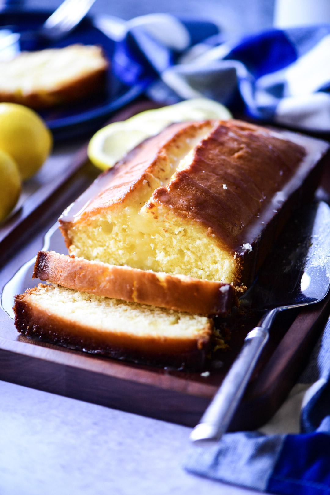 Large slices of lemon pound cake