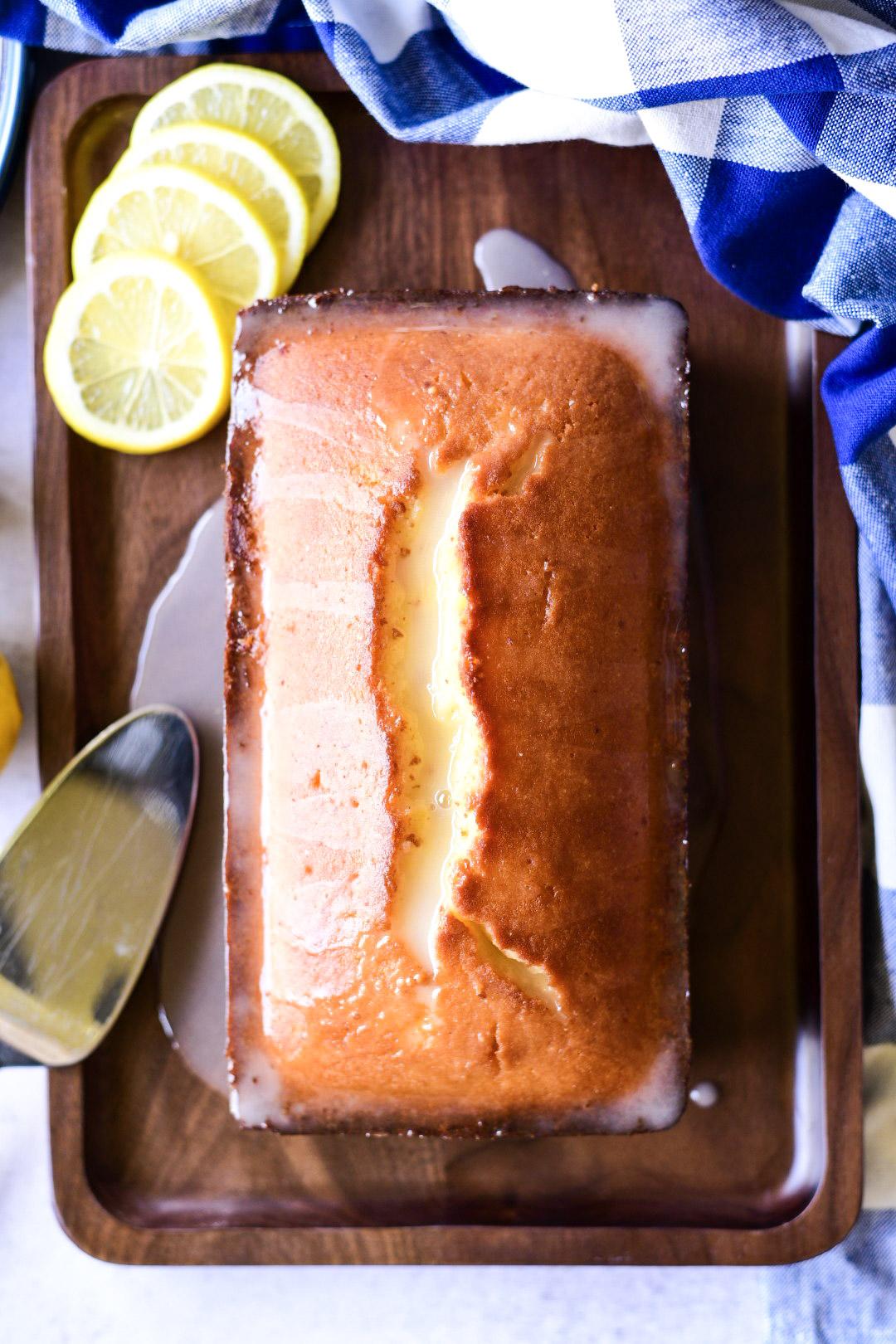 Overhead shot of whole lemon pound cake