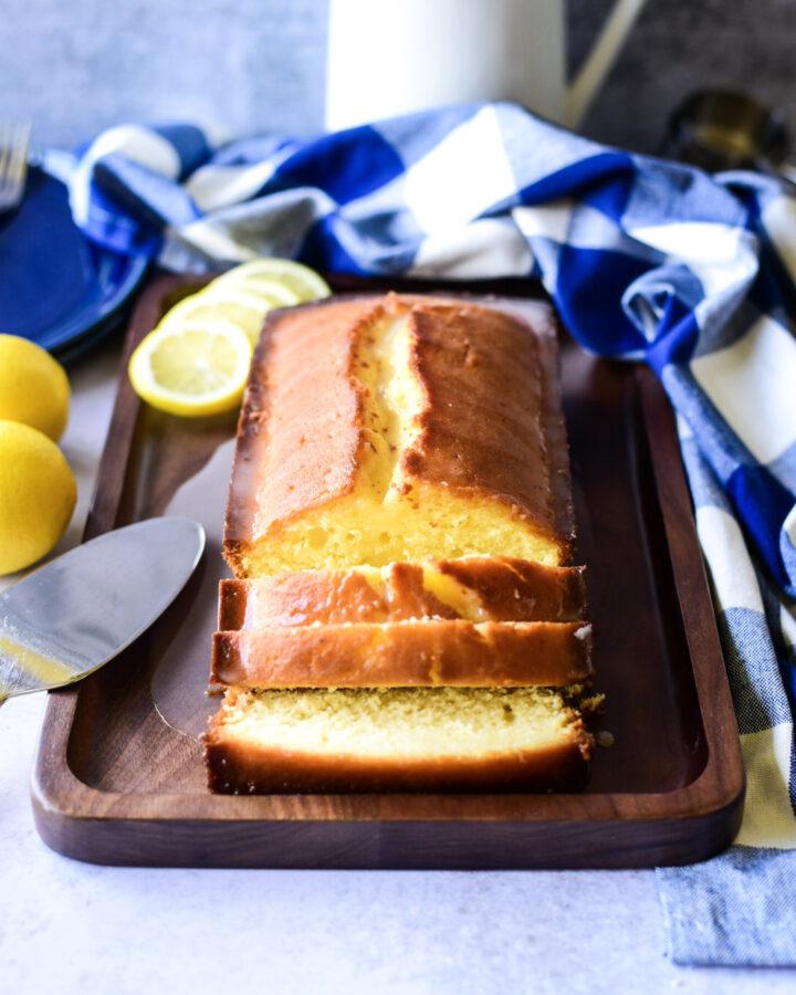 Sliced Lemon Glazed Pound Cake