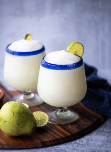 Two frozen pear margaritas