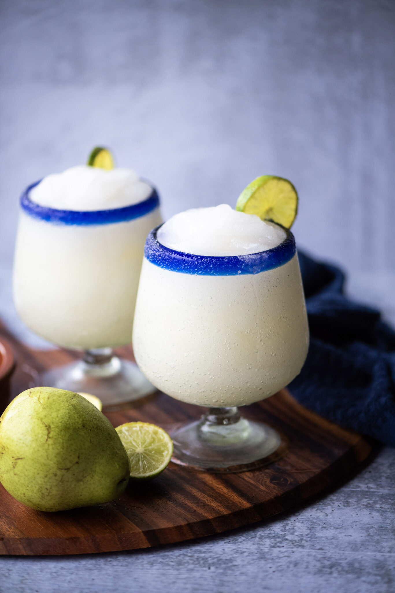 Two frozen pear margaritas