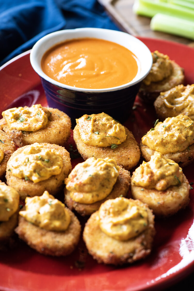 Buffalo fried deviled eggs
