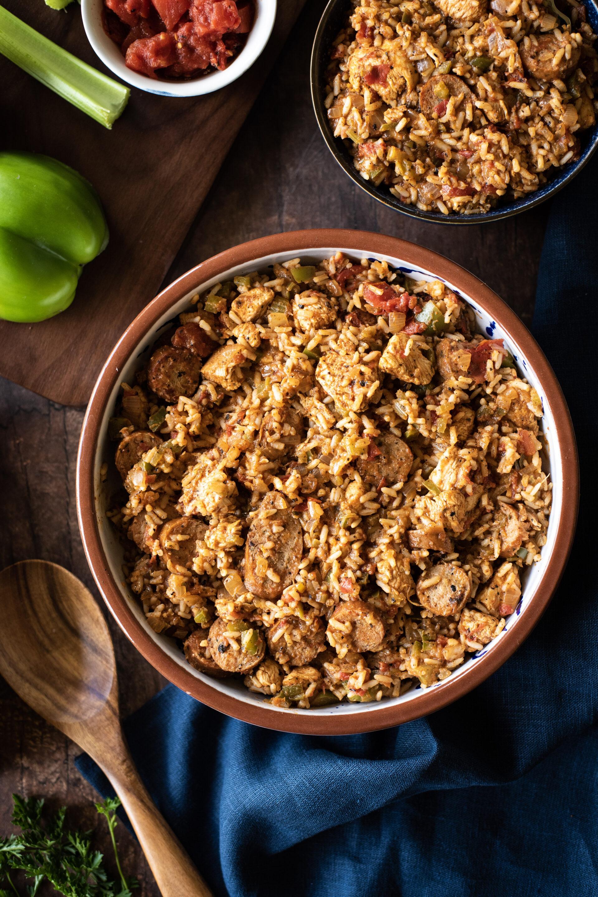 Large serving bowl and single serving bowl of jambalaya