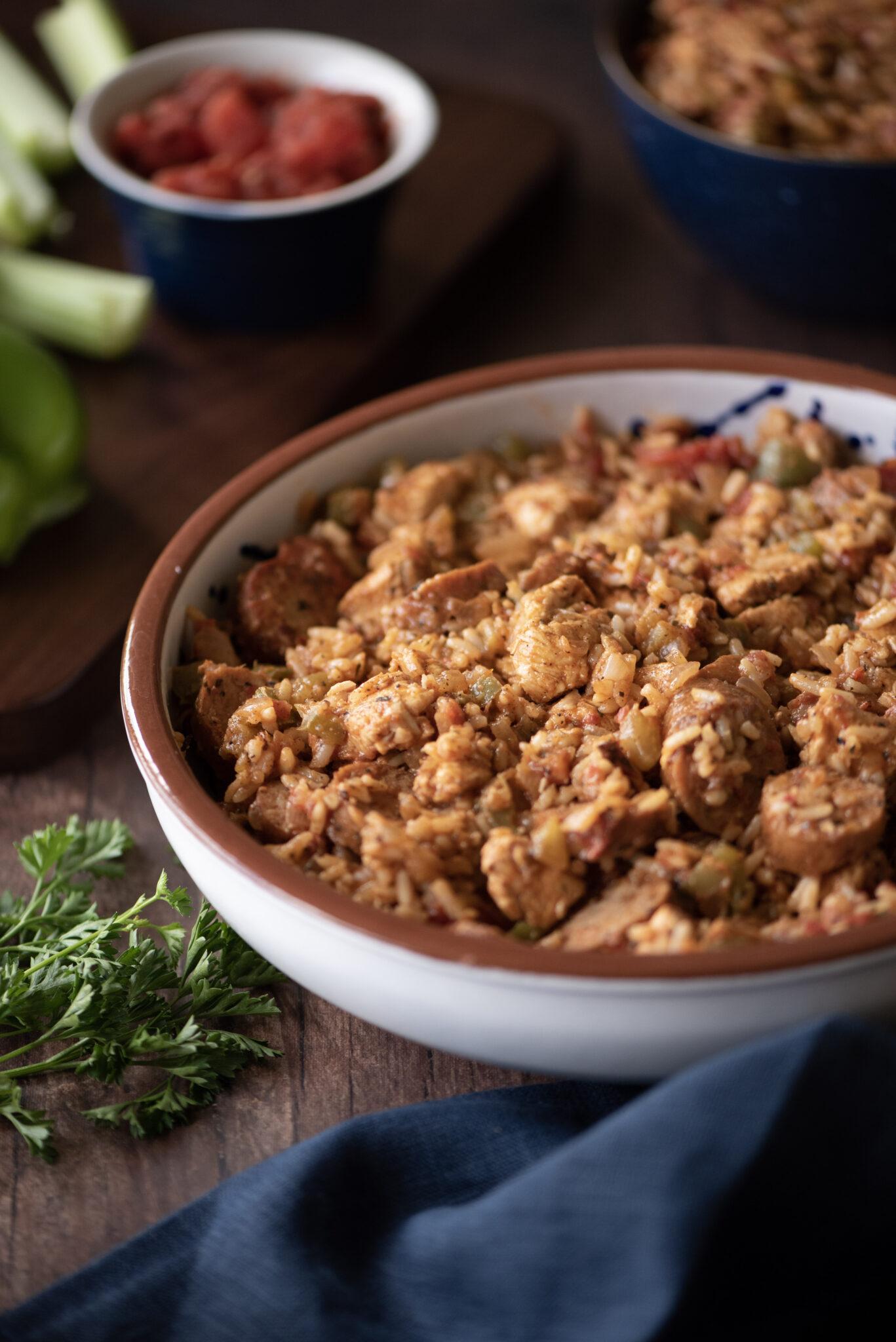 Large bowl of jambalaya