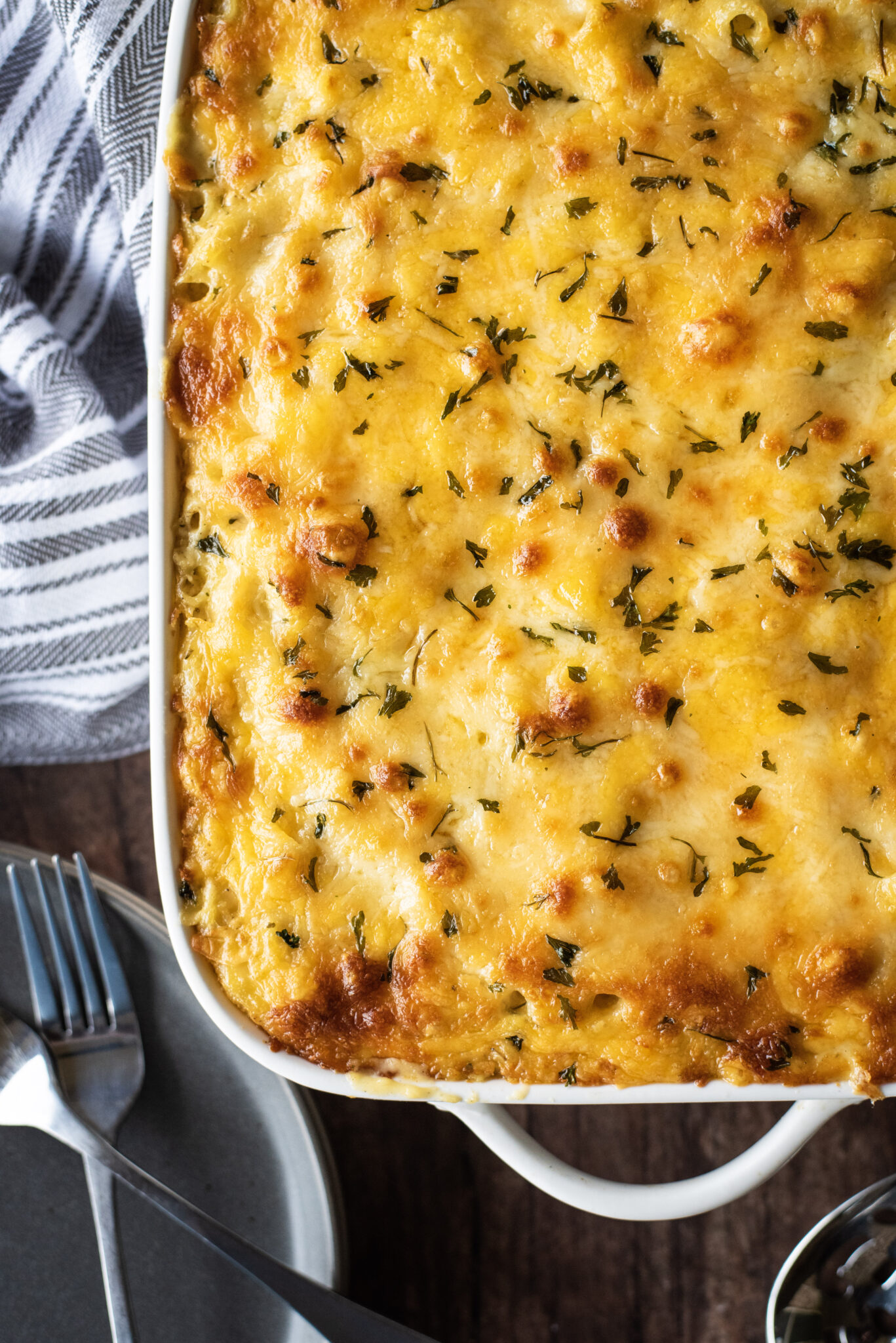 Overhead shot of mac and cheese straight from the oven