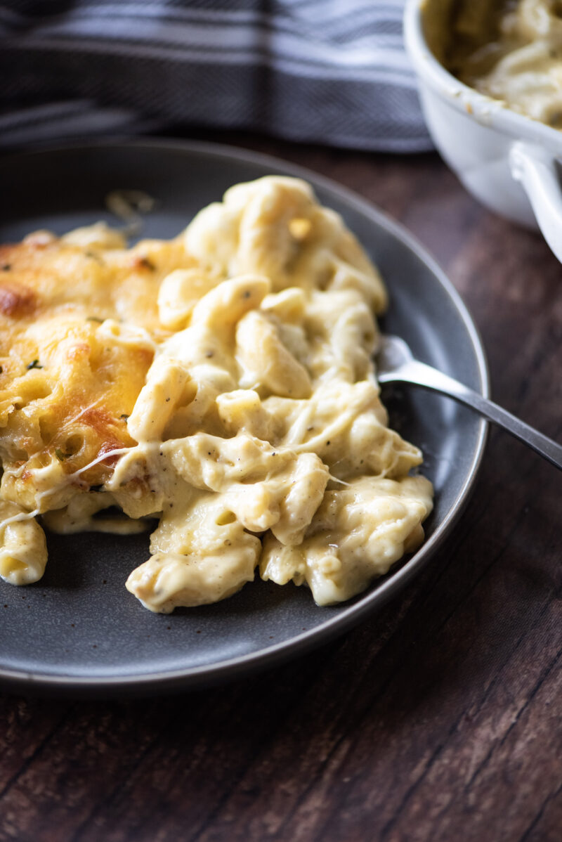 Individual serving of mac and cheese