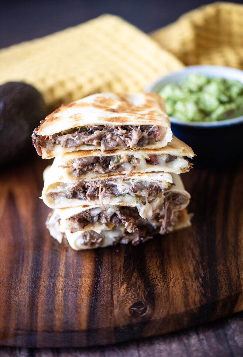 short rib quesadillas served with guacamole