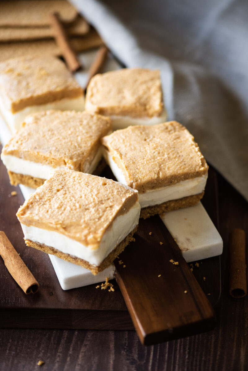 Overhead shot of ½ dozen cheesecake bars