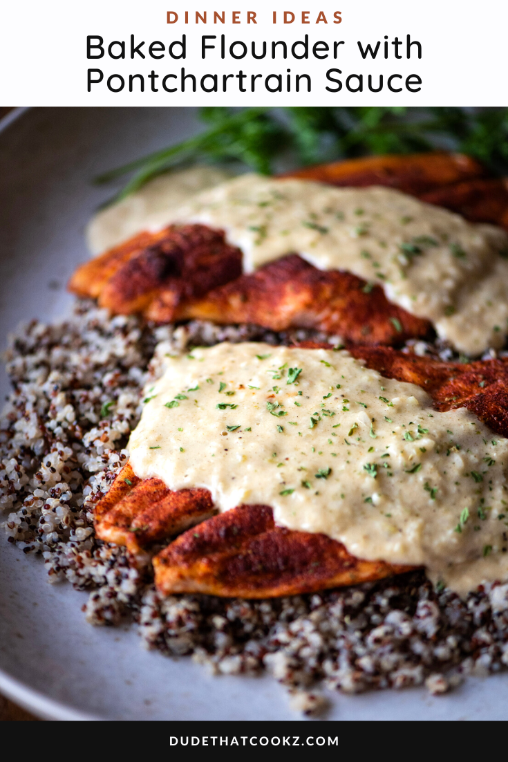 Baked Flounder with Pontchartrain Sauce
