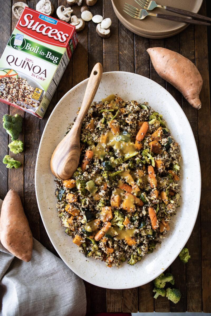 Overhead platter of warm quinoa salad