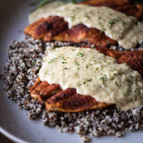 baked flounder topped with pontchartrain sauce