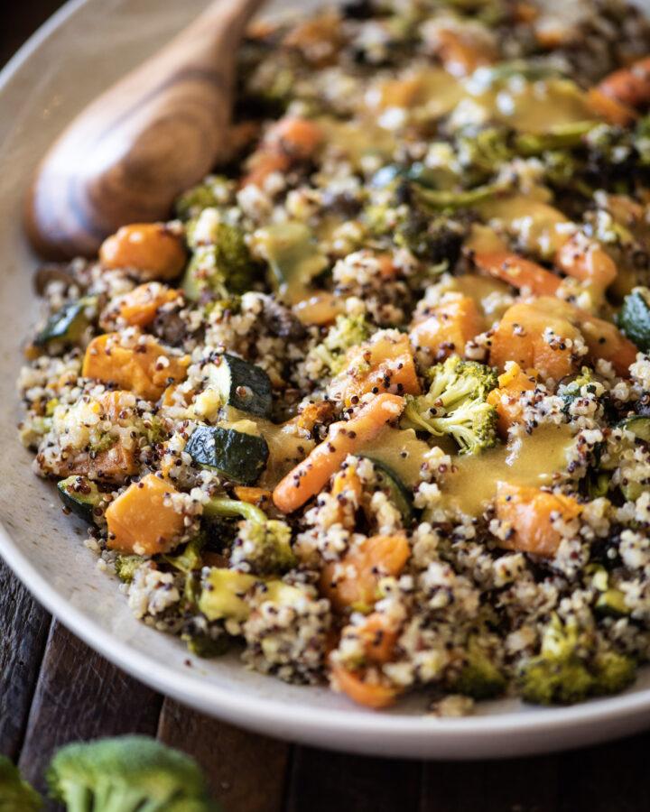 platter of warn quinoa salad