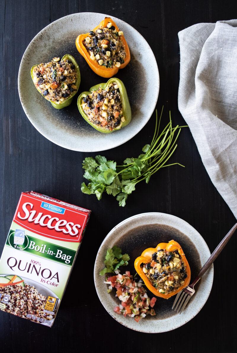 Overhead shot of quinoa stuffed peppers