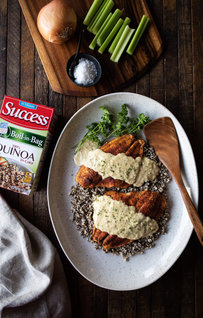 Baked flounder with Success quinoa