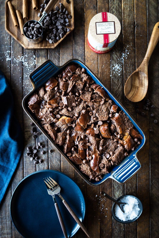 Overhead shot of chocolate bread pudding with Le Saunier de Camargue Fleur de Sel