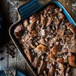 Casserole dish of chocolate bread pudding