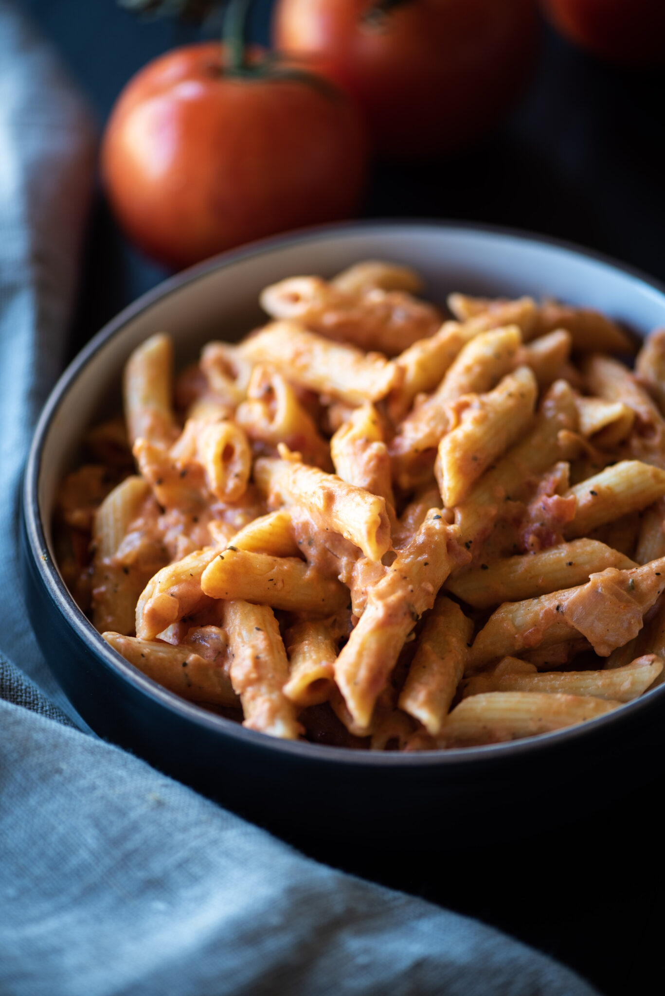 Close of of bowl of penne alla vodka