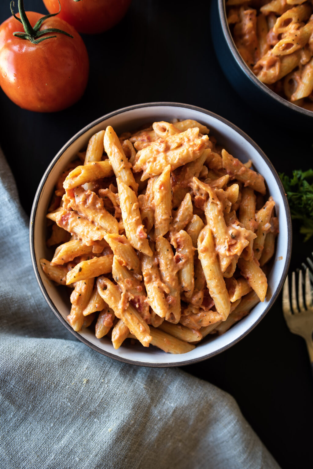 Overhead shot of Penne pasta with vodka sauce