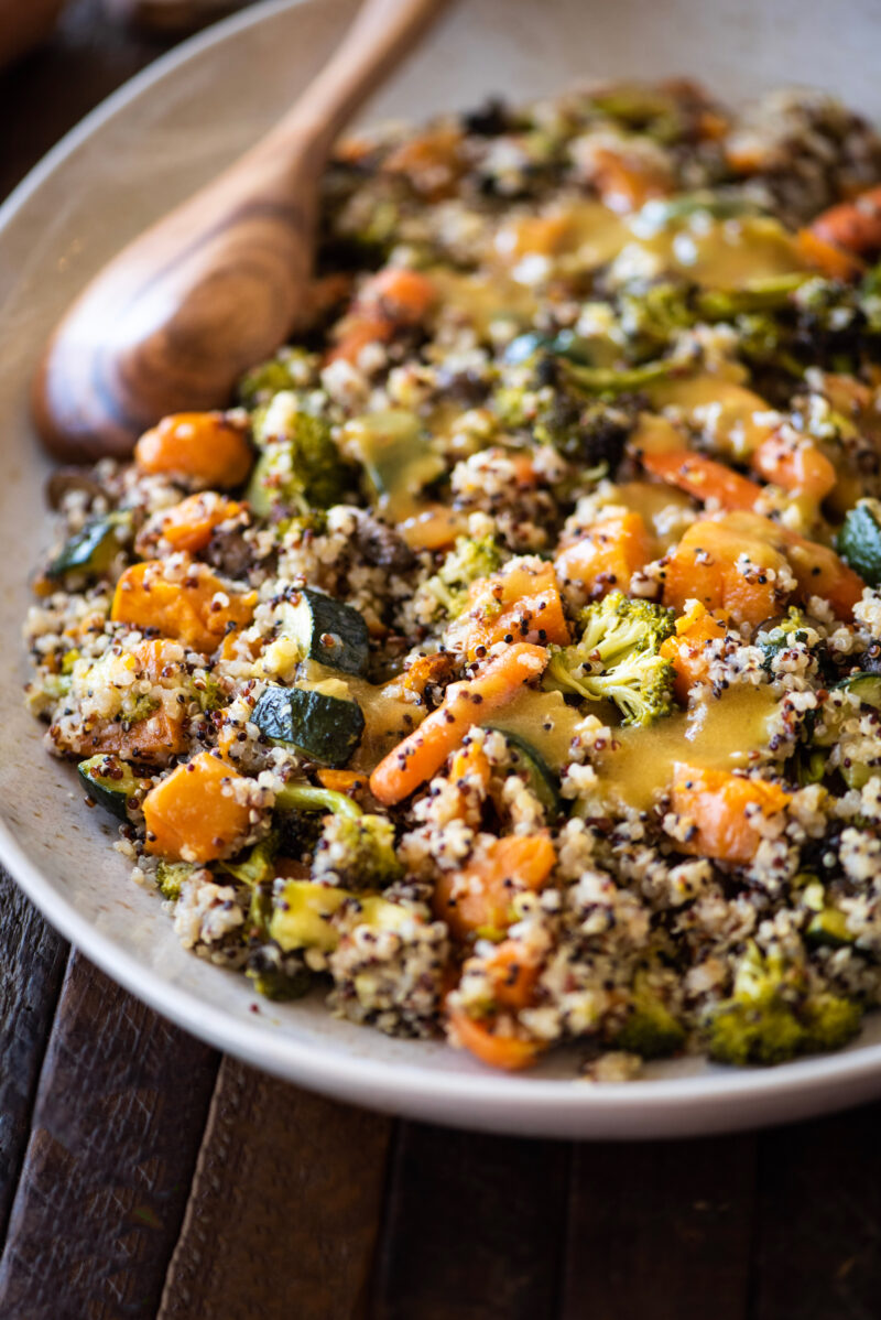 quinoa with roasted vegetables topped with home dressing