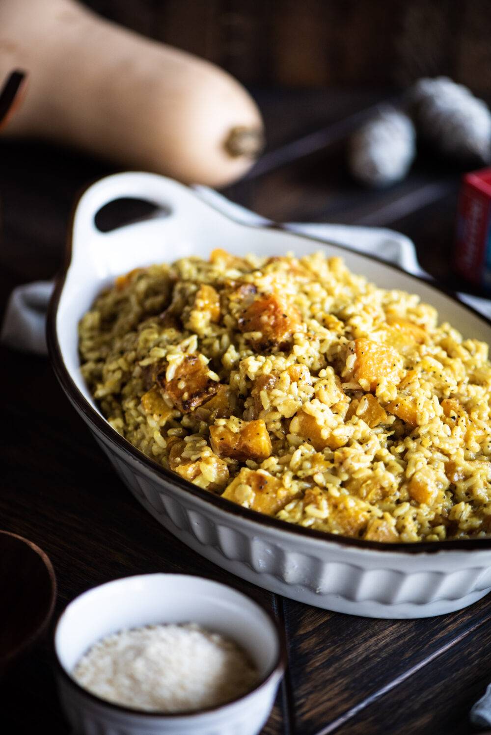 Oval Casserole dish with butternut risotto