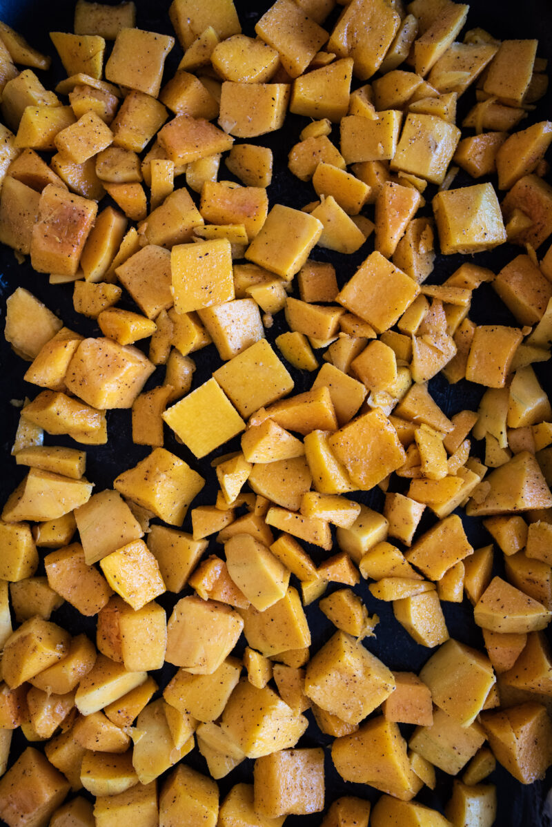 uncooked and chopped butternut squash