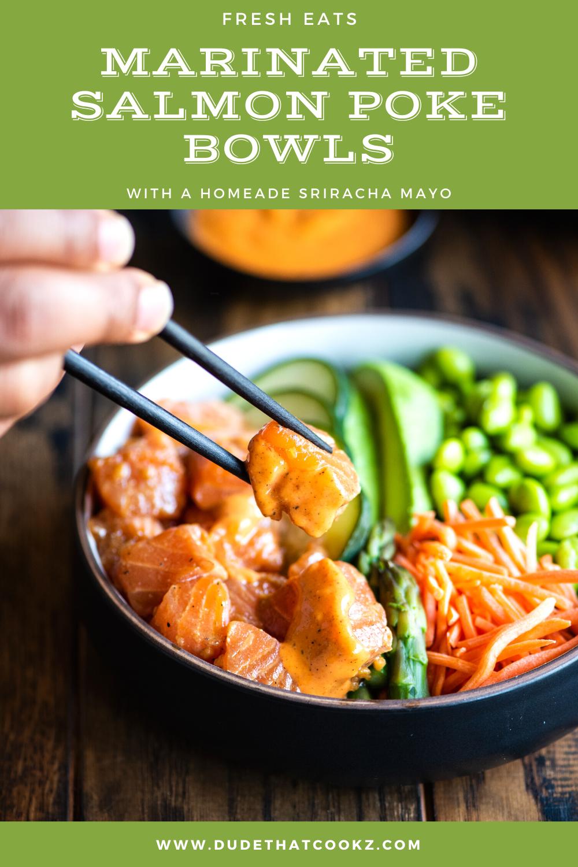 Marinated salmon poke bowls