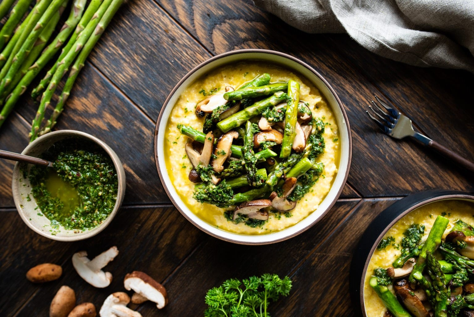 cheesy polenta and spring vegetables recipe