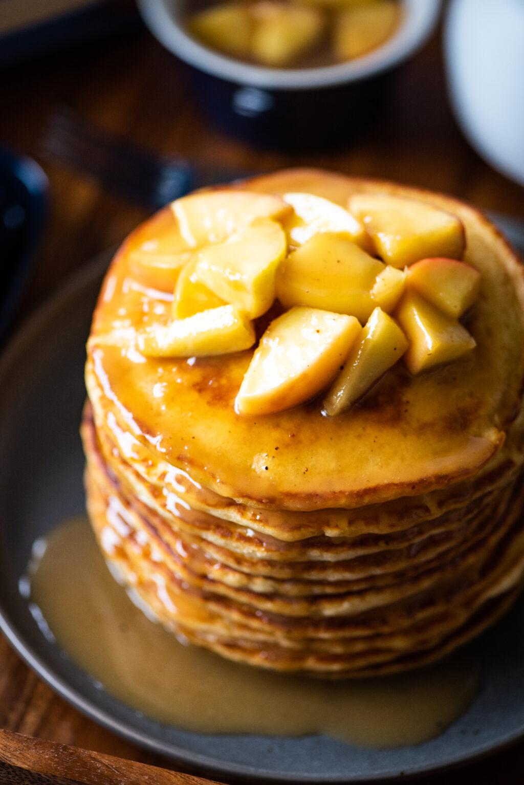 pancake stack with caramel apples