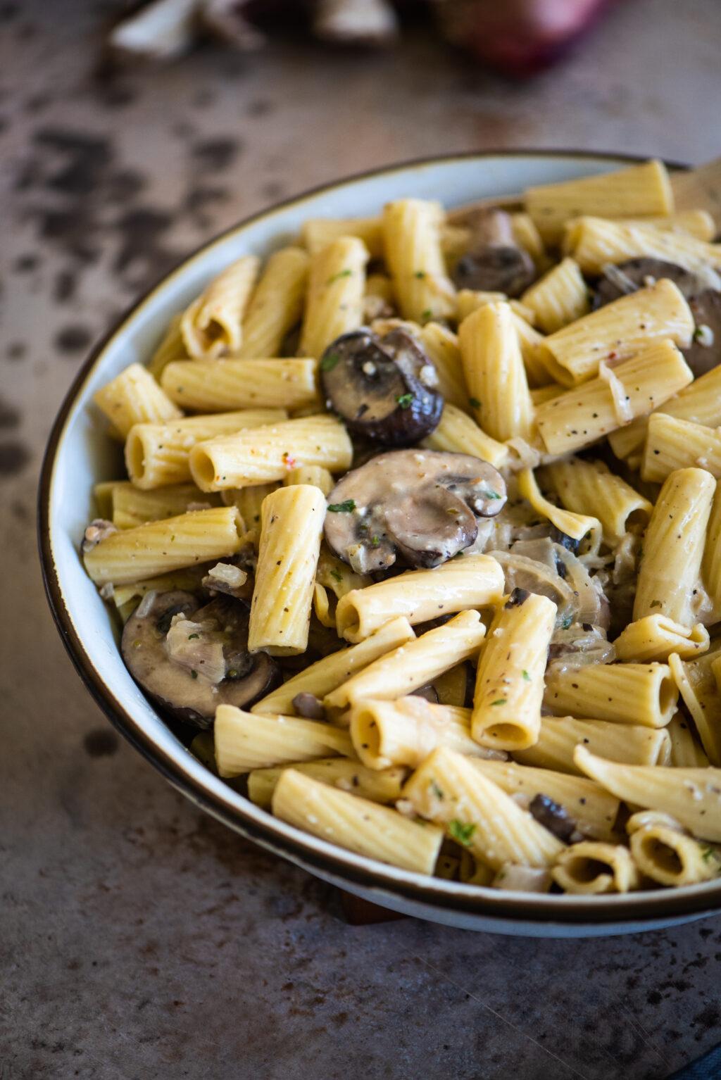 serving size bowl of mushroom rigatoni