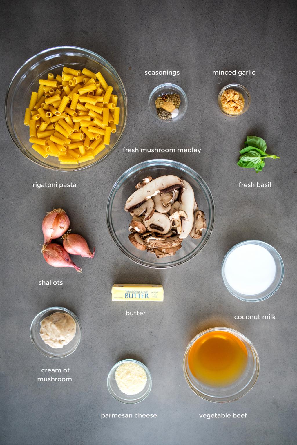 mushroom rigatoni ingredients